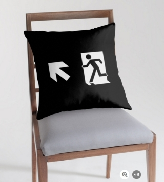 Running Man Exit Sign Throw Pillow Cushion 145