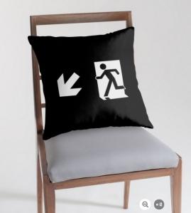 Running Man Exit Sign Throw Pillow Cushion 146