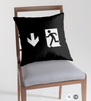 Running Man Exit Sign Throw Pillow Cushion 147