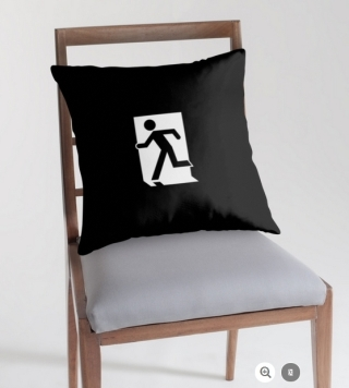 Running Man Exit Sign Throw Pillow Cushion 148