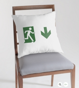 Running Man Exit Sign Throw Pillow Cushion 15
