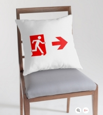 Running Man Exit Sign Throw Pillow Cushion 150