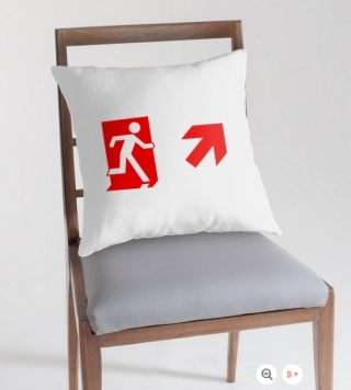 Running Man Exit Sign Throw Pillow Cushion 151