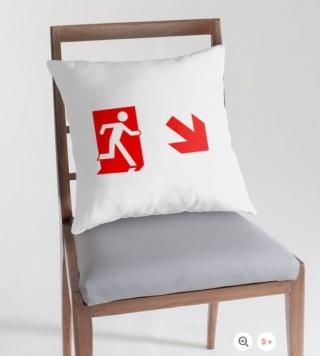 Running Man Exit Sign Throw Pillow Cushion 152
