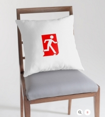 Running Man Exit Sign Throw Pillow Cushion 154