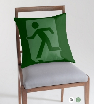 Running Man Exit Sign Throw Pillow Cushion 155