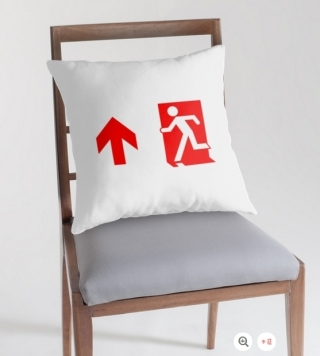 Running Man Exit Sign Throw Pillow Cushion 156