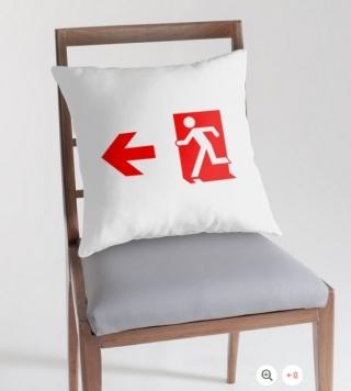 Running Man Exit Sign Throw Pillow Cushion 157