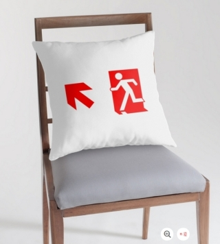 Running Man Exit Sign Throw Pillow Cushion 158