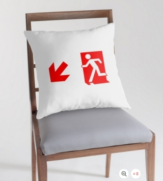 Running Man Exit Sign Throw Pillow Cushion 159
