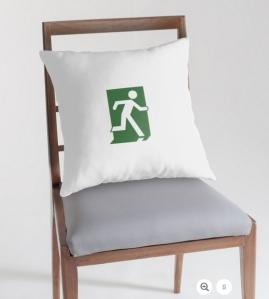 Running Man Exit Sign Throw Pillow Cushion 16