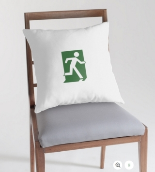 Running Man Exit Sign Throw Pillow Cushion 16