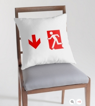 Running Man Exit Sign Throw Pillow Cushion 160
