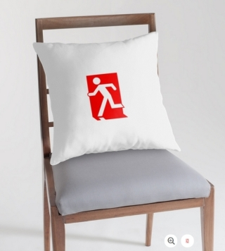 Running Man Exit Sign Throw Pillow Cushion 161