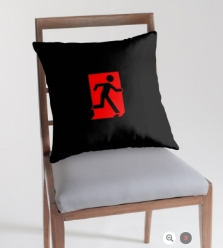Running Man Exit Sign Throw Pillow Cushion 162