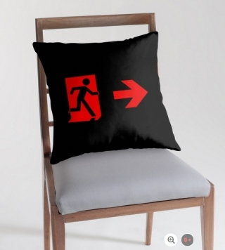Running Man Exit Sign Throw Pillow Cushion 164
