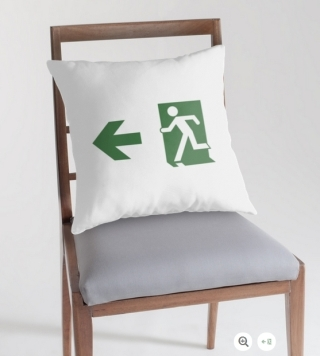 Running Man Exit Sign Throw Pillow Cushion 18