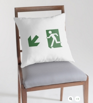 Running Man Exit Sign Throw Pillow Cushion 20