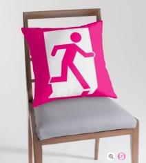 Running Man Exit Sign Throw Pillow Cushion 23