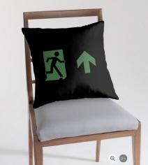 Running Man Exit Sign Throw Pillow Cushion 24