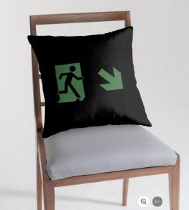 Running Man Exit Sign Throw Pillow Cushion 27