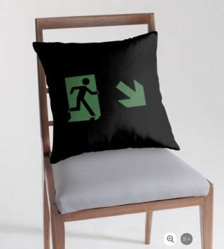 Running Man Exit Sign Throw Pillow Cushion 27
