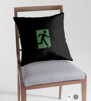 Running Man Exit Sign Throw Pillow Cushion 29
