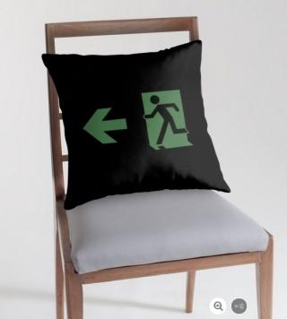 Running Man Exit Sign Throw Pillow Cushion 31