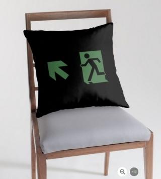 Running Man Exit Sign Throw Pillow Cushion 32