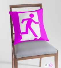 Running Man Exit Sign Throw Pillow Cushion 34