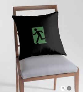 Running Man Exit Sign Throw Pillow Cushion 36