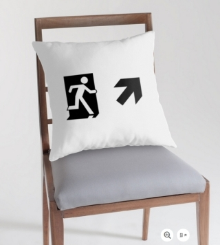 Running Man Exit Sign Throw Pillow Cushion 39