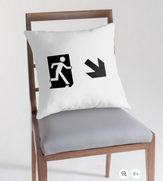 Running Man Exit Sign Throw Pillow Cushion 40