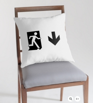 Running Man Exit Sign Throw Pillow Cushion 41