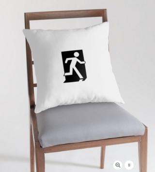 Running Man Exit Sign Throw Pillow Cushion 42