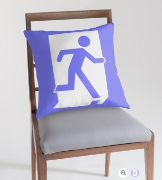 Running Man Exit Sign Throw Pillow Cushion 45