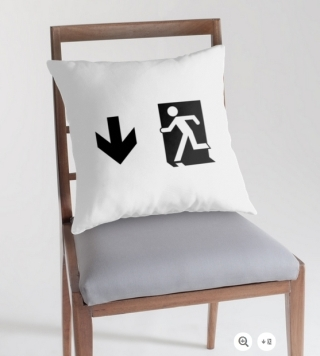 Running Man Exit Sign Throw Pillow Cushion 48