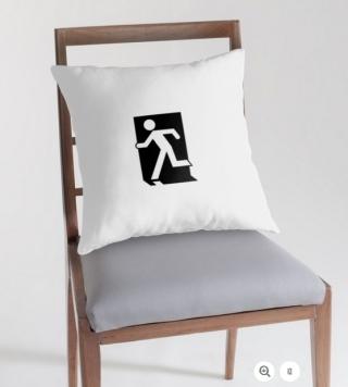 Running Man Exit Sign Throw Pillow Cushion 49