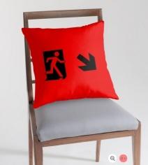Running Man Exit Sign Throw Pillow Cushion 53
