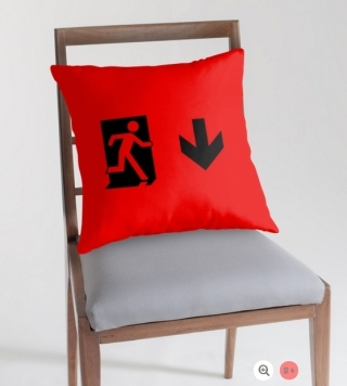 Running Man Exit Sign Throw Pillow Cushion 54