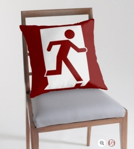 Running Man Exit Sign Throw Pillow Cushion 56