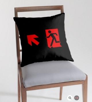 Running Man Exit Sign Throw Pillow Cushion 6
