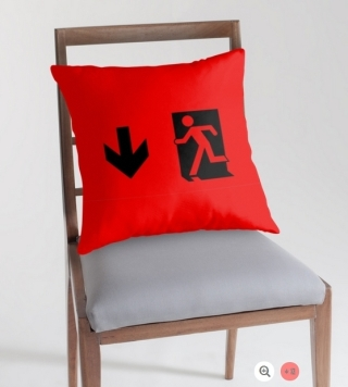 Running Man Exit Sign Throw Pillow Cushion 61