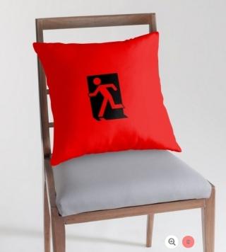 Running Man Exit Sign Throw Pillow Cushion 62