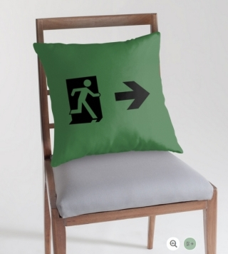 Running Man Exit Sign Throw Pillow Cushion 64