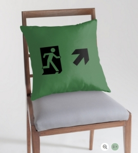 Running Man Exit Sign Throw Pillow Cushion 65