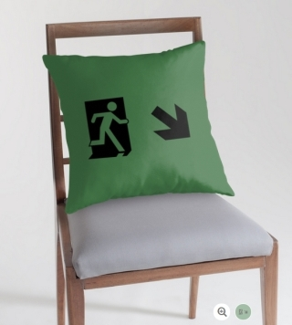 Running Man Exit Sign Throw Pillow Cushion 66
