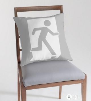 Running Man Exit Sign Throw Pillow Cushion 67