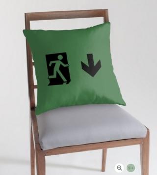 Running Man Exit Sign Throw Pillow Cushion 68