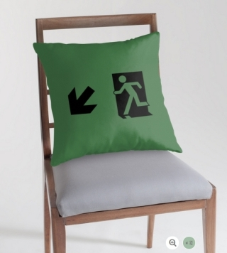 Running Man Exit Sign Throw Pillow Cushion 71